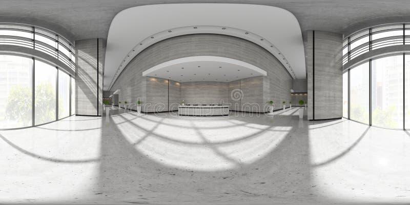 Interior esférico de la proyección del panorama 360 del ejemplo de la recepción 3D stock de ilustración