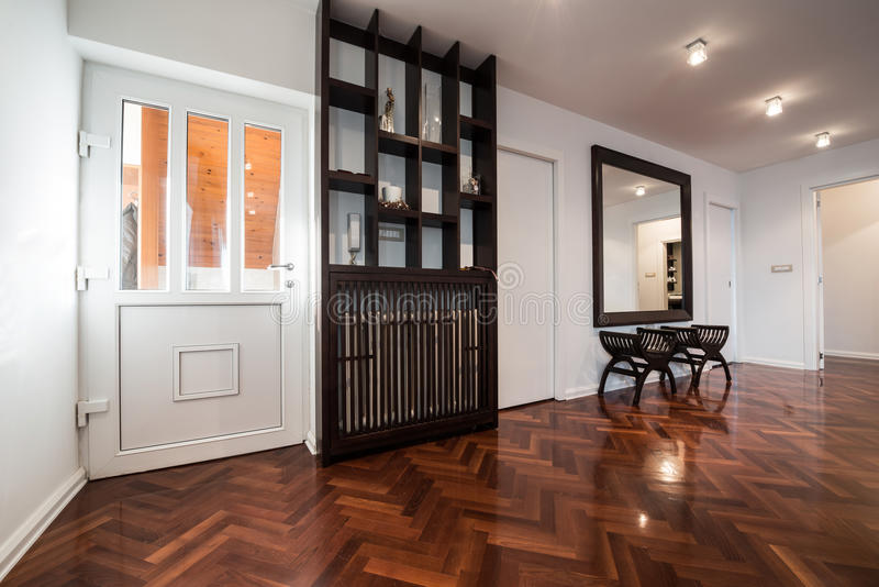 Interior espaçoso da antecâmara com grande espelho e paridade marrom brilhante imagens de stock