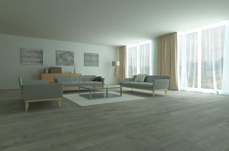 Interior espacioso moderno del salón o de la sala de estar libre illustration