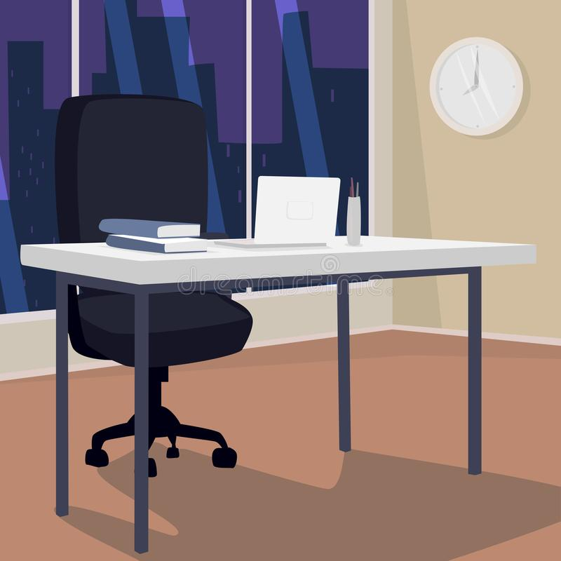 Interior of evening workplace with view of city. Office in metropolis. White laptop on desk, next to armchair. Three quarter view. Simplistic realistic comic vector illustration