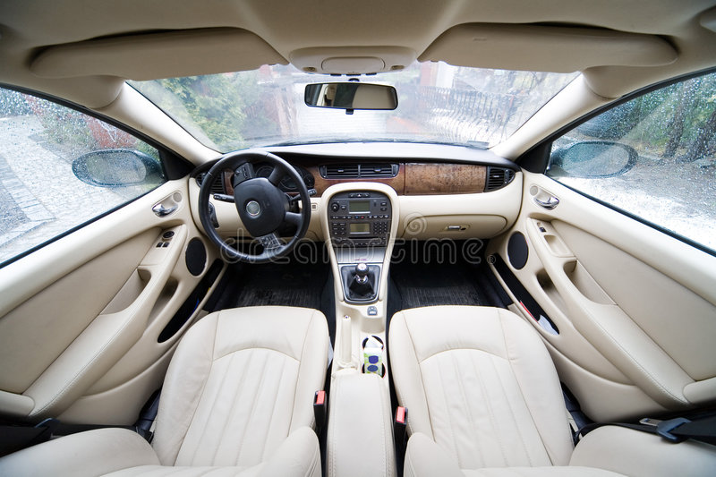 Interior of exclusive car stock images