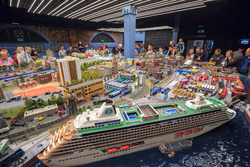 Interior of the exhibition Grand Maket Rossiya. Saint Petersburg, Russia stock images