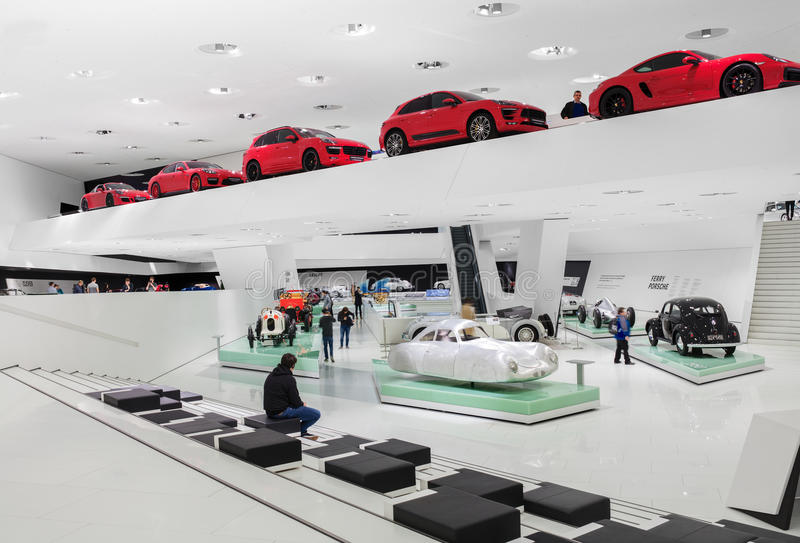 Interior Exhibits of Porsche Museum royalty free stock images