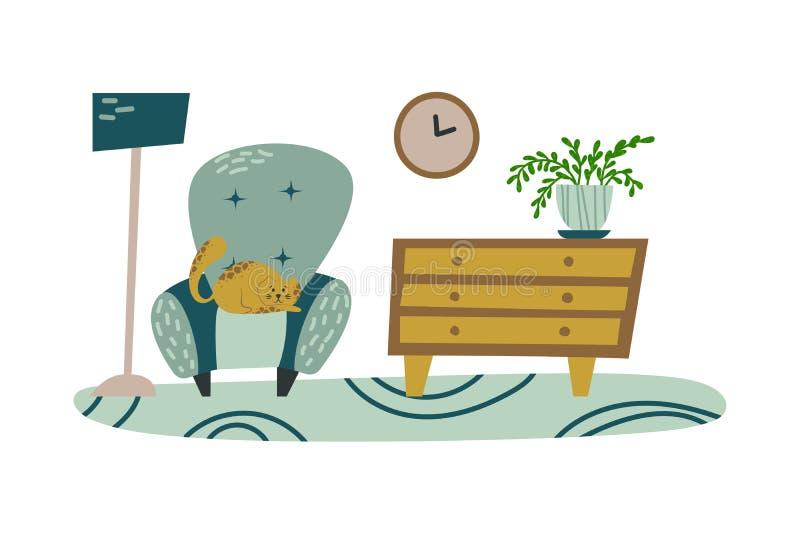 Interior extravagante com as plantas da casa em uns potenciômetros lounge Imagem isolada do vetor pet ilustração stock