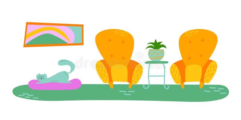 Interior extravagante com as plantas da casa em uns potenciômetros lounge Imagem isolada do vetor pet ilustração royalty free