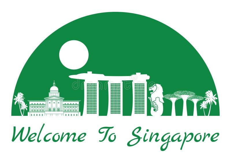 Interior famoso del estilo de la silueta de la señal de Singapur por la forma el en semi-círculo de color verde, texto dentro ilustración del vector