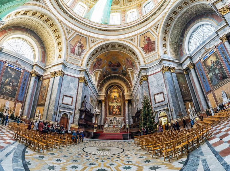 Interior of famous basilica in Esztergom, Hungary stock photos