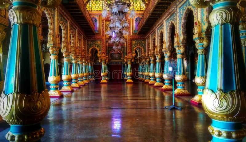 Interior of famous Mysore Palace in Karnataka India stock photos