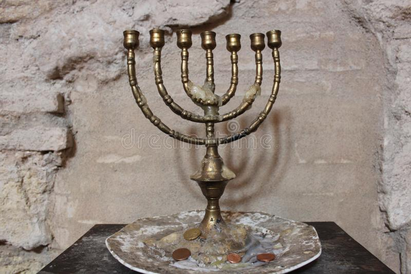 Menorah in the synagogue of Cordoba, Spain. Jewry, detail. stock image