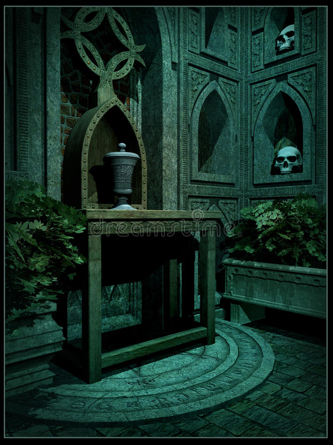 Interior of a fantasy crypt. Gothic crypt with altar and skulls stock illustration