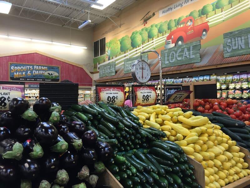 Interior of the farmers market stock photo