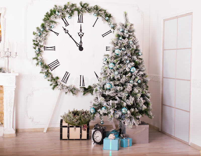 Interior festivo de la Navidad foto de archivo libre de regalías