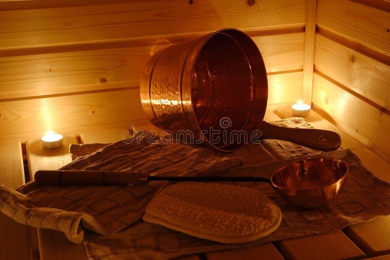 Interior Of A Finnish Sauna Stock Photos