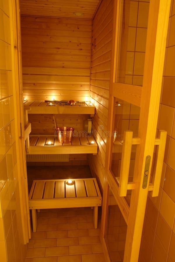 Interior Of A Finnish Sauna Stock Photo