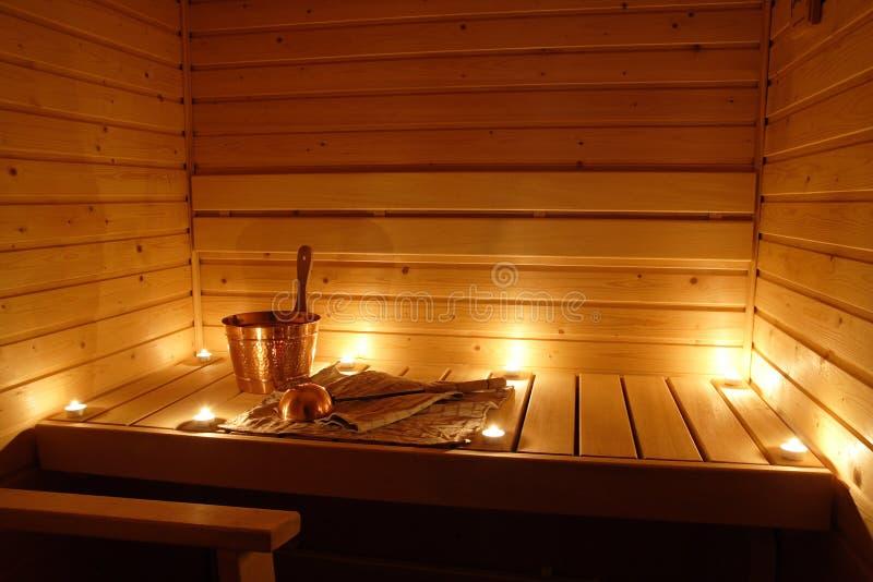 Interior of a Finnish sauna royalty free stock image