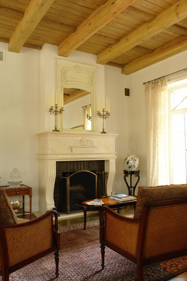 Interior with the fireplace royalty free stock photo