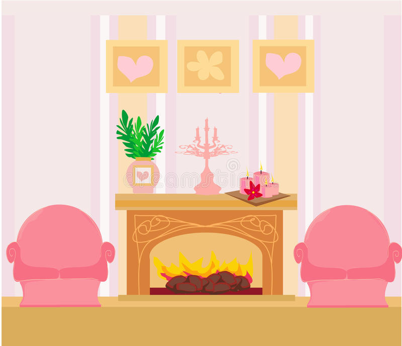 The Interior Of The Fireplace In The Center Of The Composition Stock Photos
