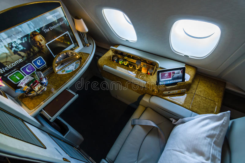 Interior of first class of the world's largest aircraft Airbus A380. BERLIN, GERMANY - JUNE 02, 2016: Interior of first class of the world's largest aircraft royalty free stock images