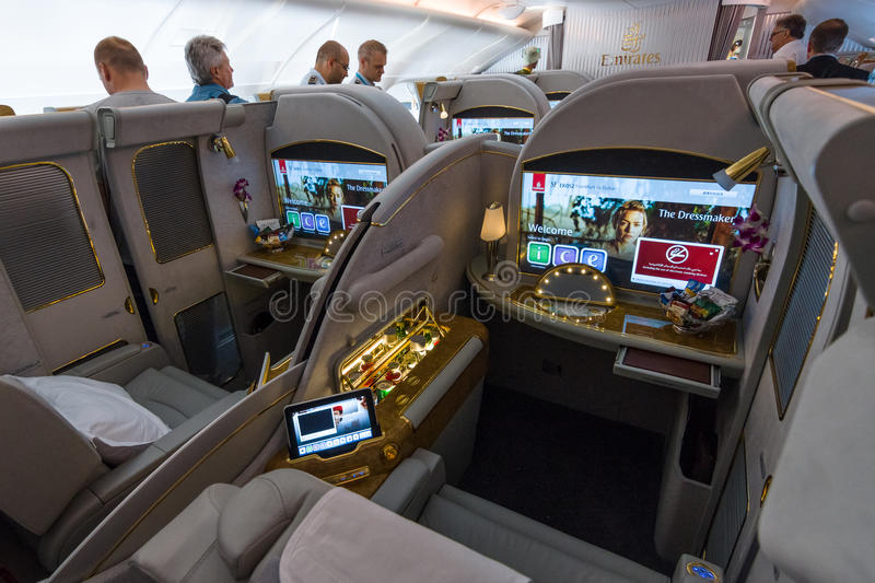 Interior of first class of the world's largest aircraft Airbus A380. BERLIN, GERMANY - JUNE 02, 2016: Interior of first class of the world's largest aircraft stock image