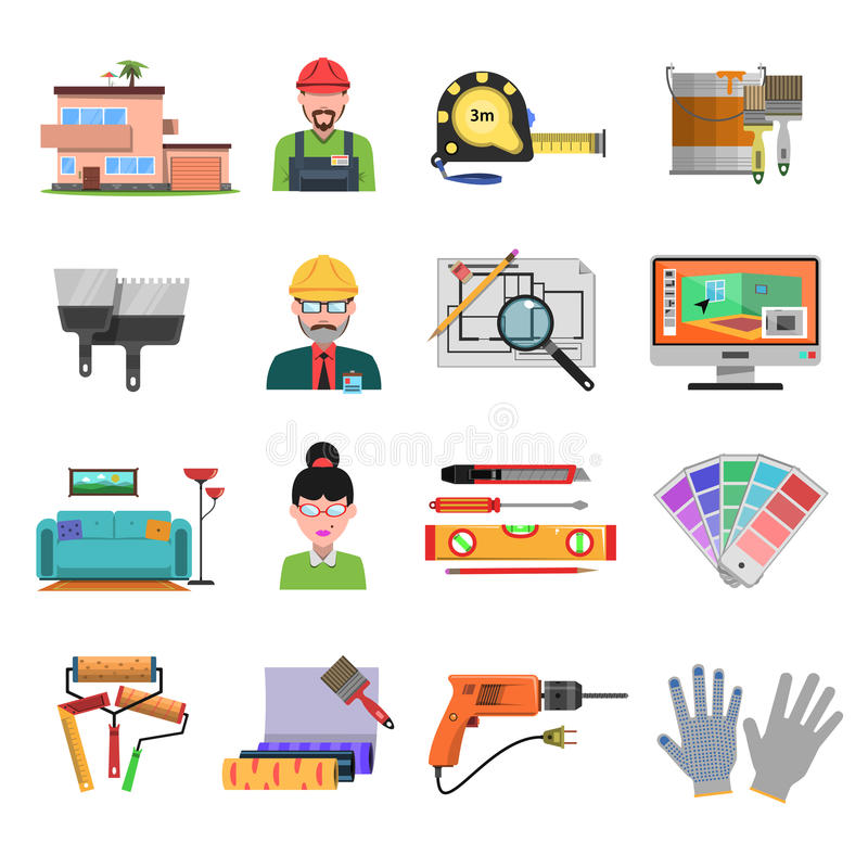 Download Interior Flat Icons Stock Vector Image Of Building