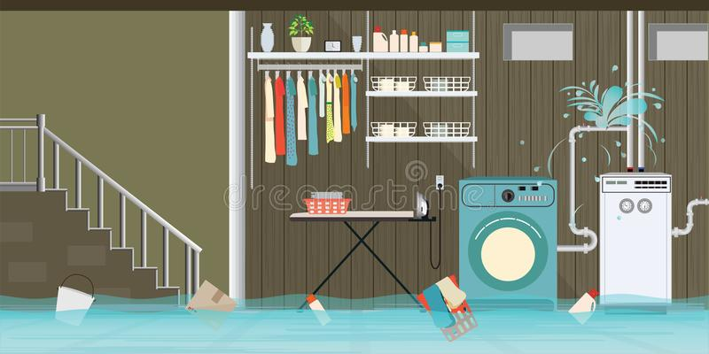 Interior flooded basement flooring of laundry room with leaky pi stock illustration
