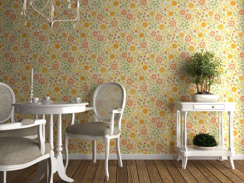 Interior Flowery Wallpaper Stock Image