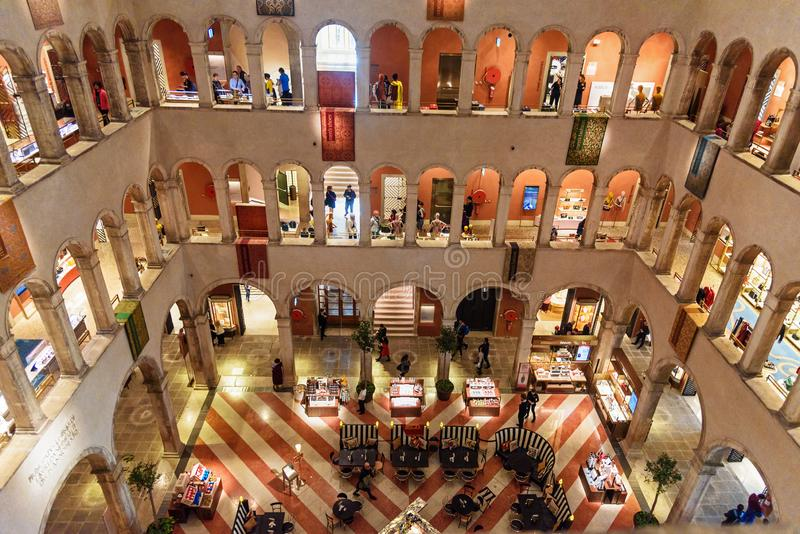 Interior of Fondaco dei Tedeschi in Venice. Italy stock image