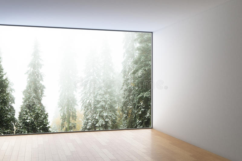 Interior with forest view. Modern minimalistic interior with wooden floor, concrete walls, ceiling and panoramic forest view. 3D Rendering vector illustration