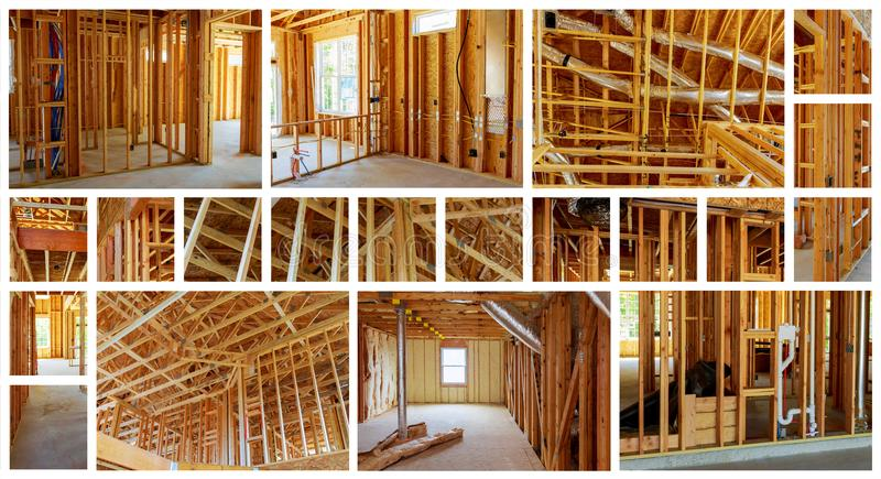 Interior framing of a new house under construction photo collage. Interior framing of a new house under construction construction home framing photo collage royalty free stock photos