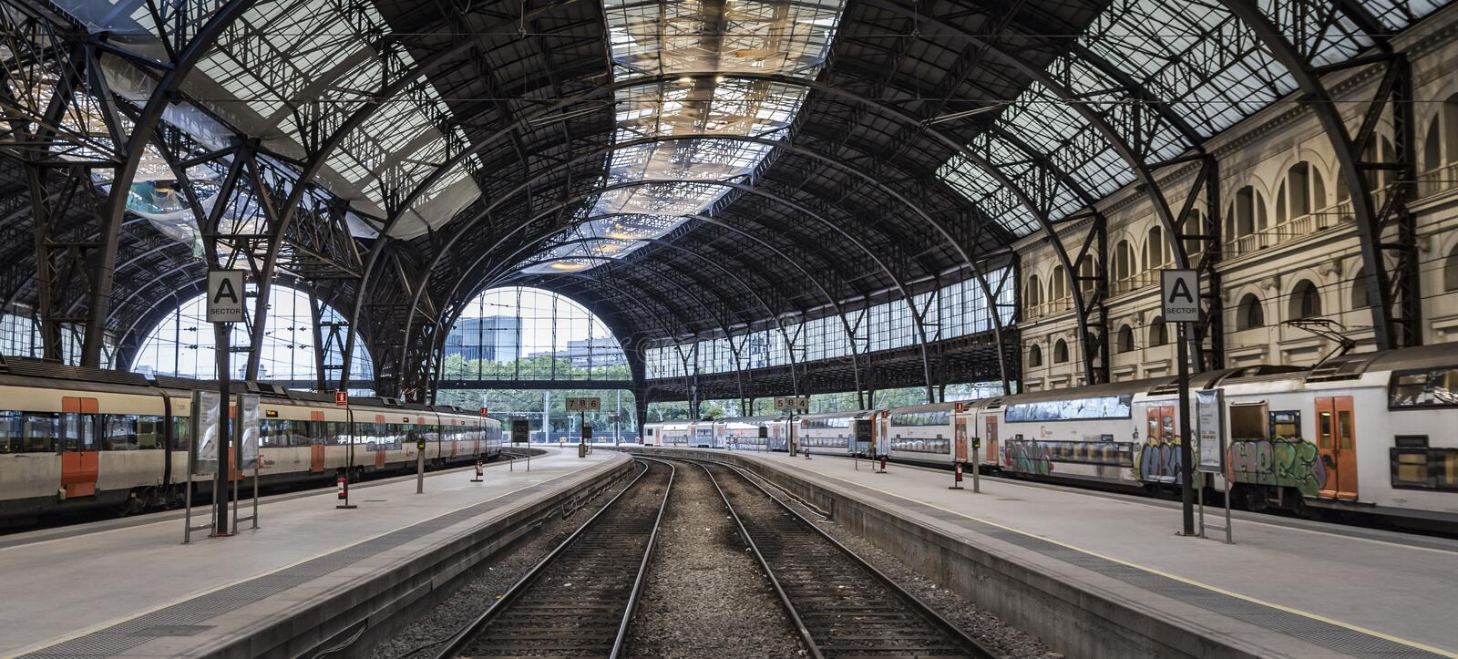 Great train station in the morning royalty free stock images