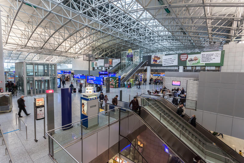 Interior of the Frankfurt International Airport stock photo