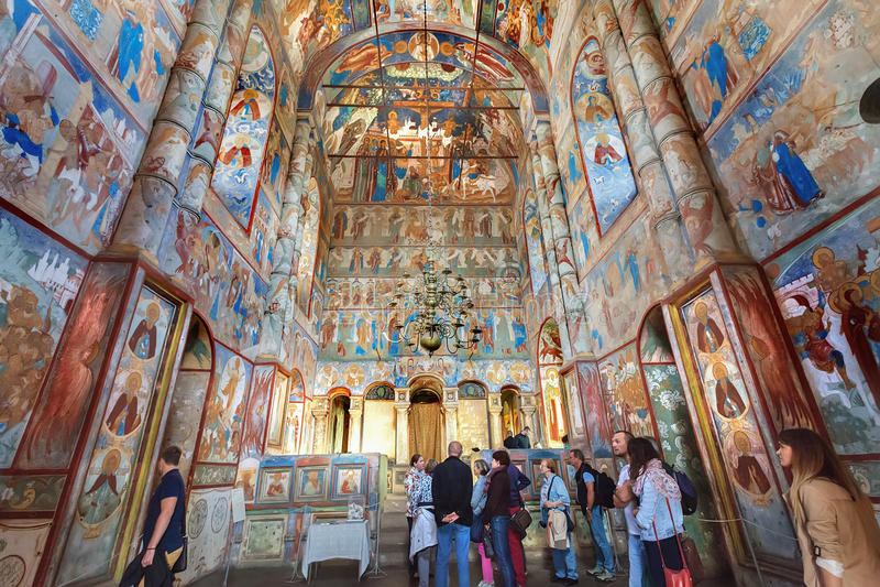 Interior with frescos of Church of Resurrection of Christ in Rostov Kremlin, Russia. ROSTOV, RUSSIA - SEPTEMBER 03, 2016: Interior of Church of the Resurrection royalty free stock photos