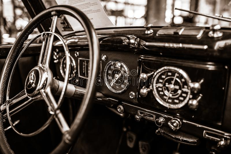 Interior of a full-size luxury car Mercedes-Benz 220 `Cabriolet A` W187, 1951. BERLIN - MAY 06, 2018: Interior of a full-size luxury car Mercedes-Benz 220 ` stock photo