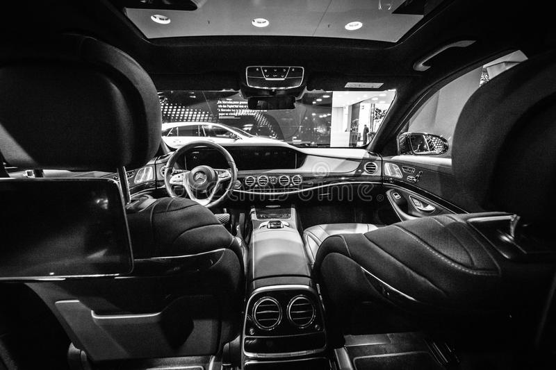 interior of the full size luxury car mercedes benz s class s350d w222 facelift editorial photo. Black Bedroom Furniture Sets. Home Design Ideas