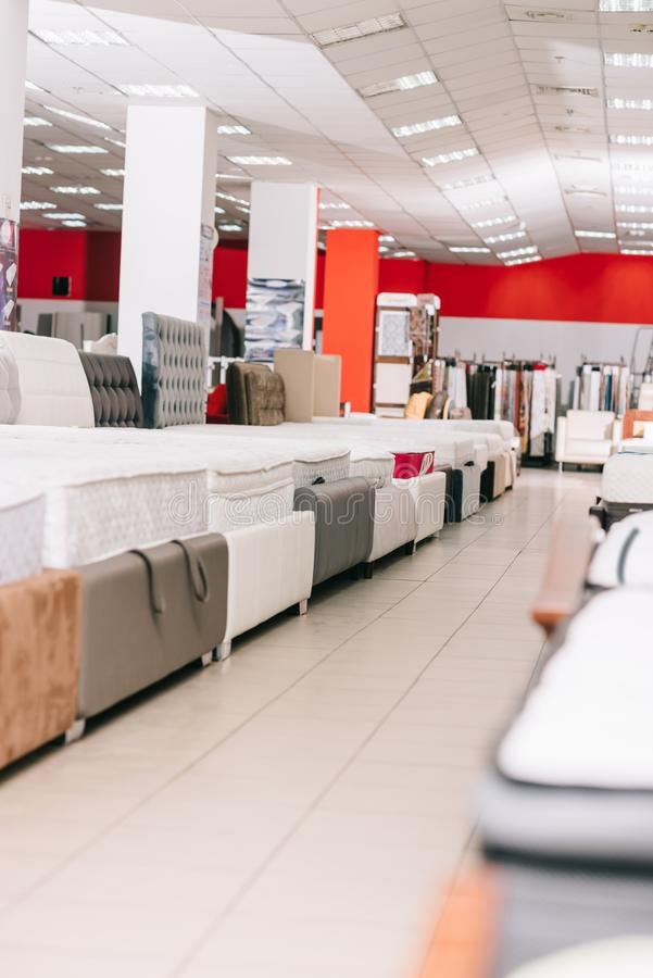 Interior of furniture store with arranged. Mattresses around royalty free stock images