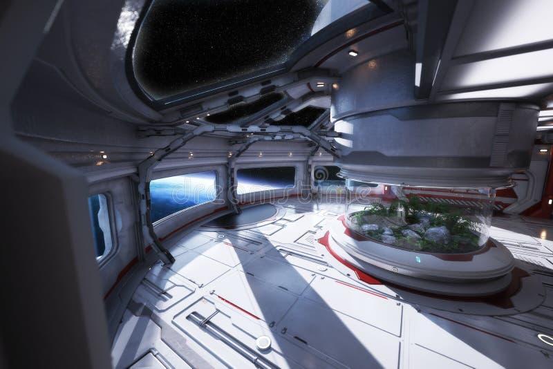 Interior futurista da estação espacial que negligencia um planeta com um vestíbulo center ilustração do vetor