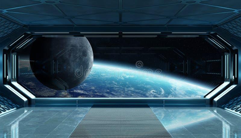Interior futurista de la nave espacial azul marino con la opinión de la ventana sobre la representación de la tierra 3d del plane ilustración del vector
