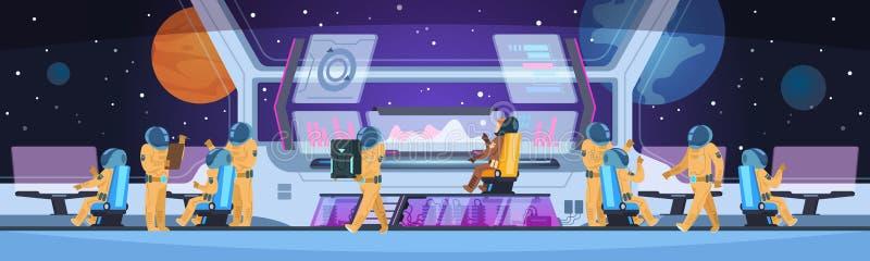 Interior futurista de la nave espacial Cabina del capitán de la nave espacial con comando pionero y los astronautas del equipo de libre illustration