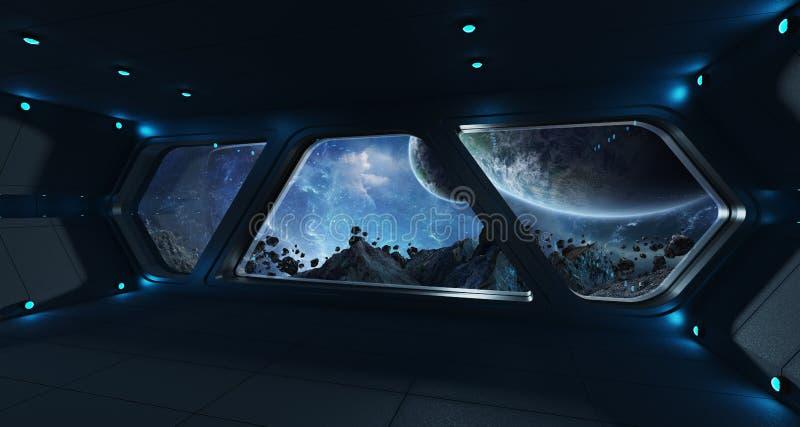 Interior futurista de la nave espacial con la opinión sobre exoplanet libre illustration