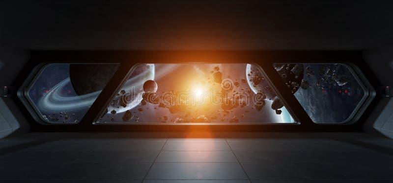 Interior futurista de la nave espacial con la opinión sobre exoplanet stock de ilustración