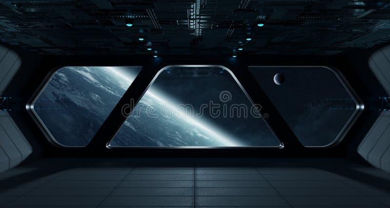Interior futurista de la nave espacial con la opinión sobre la tierra del planeta ilustración del vector