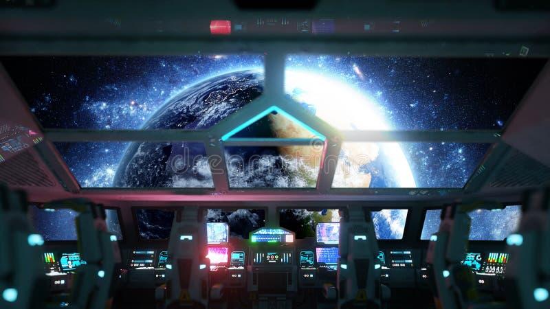 Interior futurista del vehículo espacial Opinión de Cabine Concepto galáctico del viaje representación 3d stock de ilustración