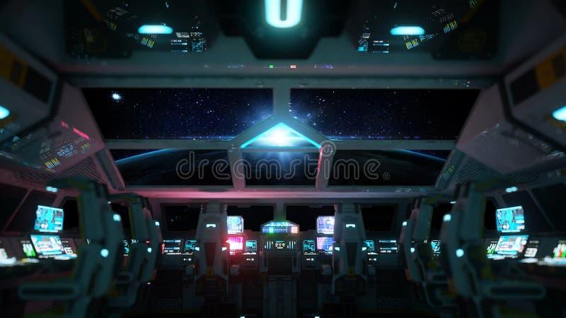 Interior futurista del vehículo espacial Opinión de Cabine Concepto galáctico del viaje representación 3d ilustración del vector