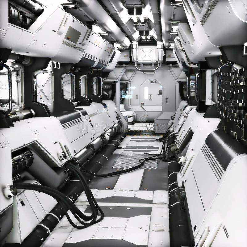 Interior futurista do túnel ou do navio do corredor da ficção científica do metal ilustração da rendição 3d ilustração royalty free