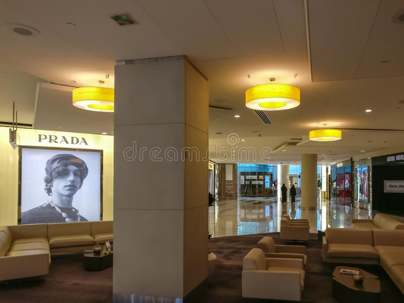 The interior of Galleria Boutique mall in Al Maryah island in Abu Dhabi city, new shopping mall for elite brands and cafes.  royalty free stock photography