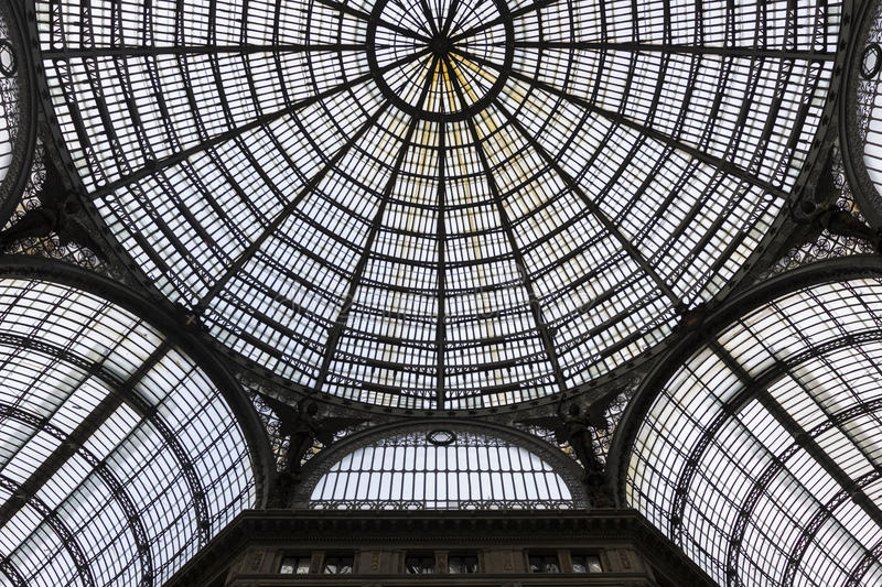 Interior of Galleria Umberto I in Naples, Italy. Modern ceiling inside Galleria Umberto I in Naples in Italy royalty free stock images