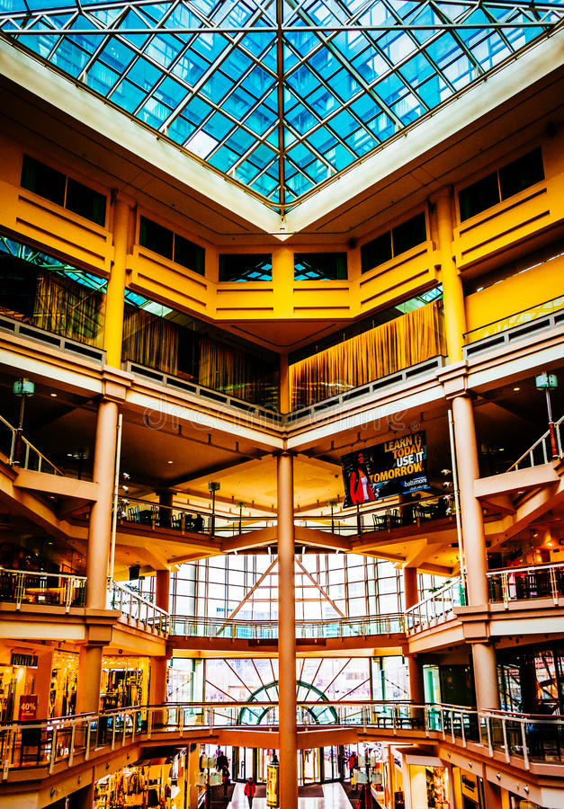The interior of The Gallery, in the Inner Harbor of Baltimore, M. Aryland royalty free stock photo