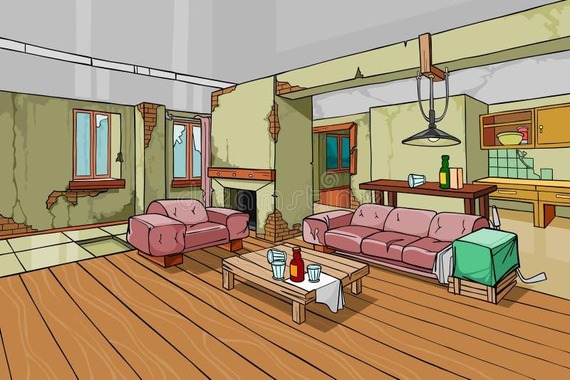 Interior gasto velho do apartamento dos desenhos animados ilustração stock