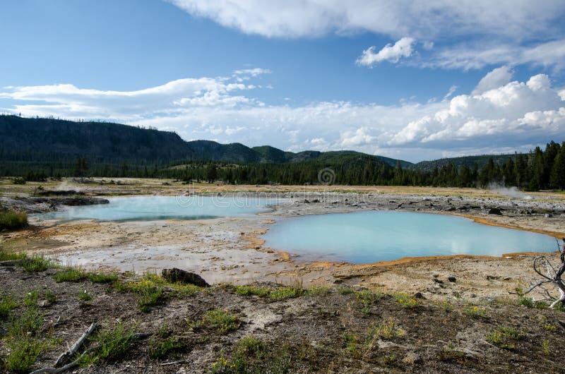 Interior geotérmica azul das características da mola quente do aqua bonito da cerceta do parque nacional de Yellowstone fotos de stock royalty free