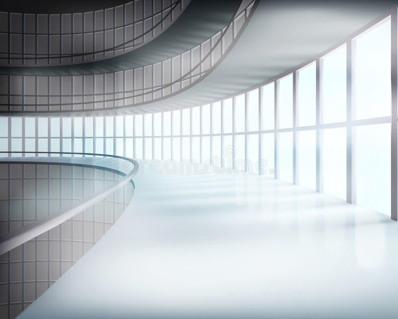 Interior of glass building. Vector illustration. stock illustration